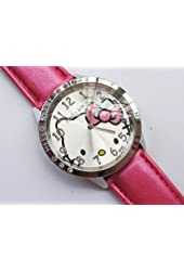 Lovely Hello Kitty Round Shaped Wrist Watch with Synthetic Leather Band - Hot Pink