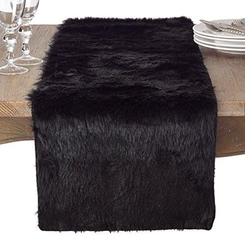 SARO LIFESTYLE Faux Fur Design Topper Table Runner, 15