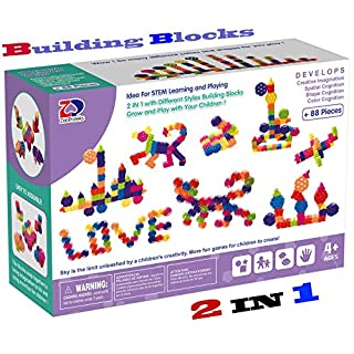 ZPT12 2 in 1 Building Block Set ,STEM Toys, Educational Building Toys (Gear+Geometry)