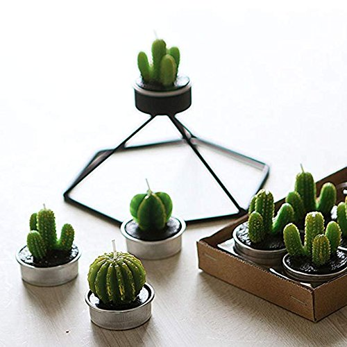 UUsave 12 Pcs Cactus Tealight Candles Decor Handmade Delicate Succulent Cactus Candles for Valentine's day Birthday Party Wedding Spa Living Room Home Decoration (12) by UUsave (Image #3)