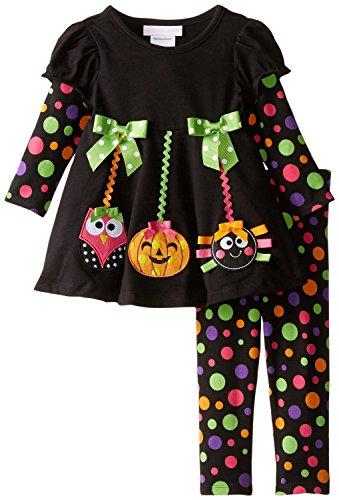 Bonnie Baby Girls Multi Polka Dot Halloween Dress Leggings 2pc Set (6-9 Month)