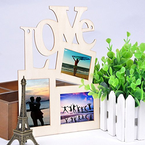 3 in 1 Photo Frame Hollow Love Wooden White Base DIY Picture Frame Art Decor