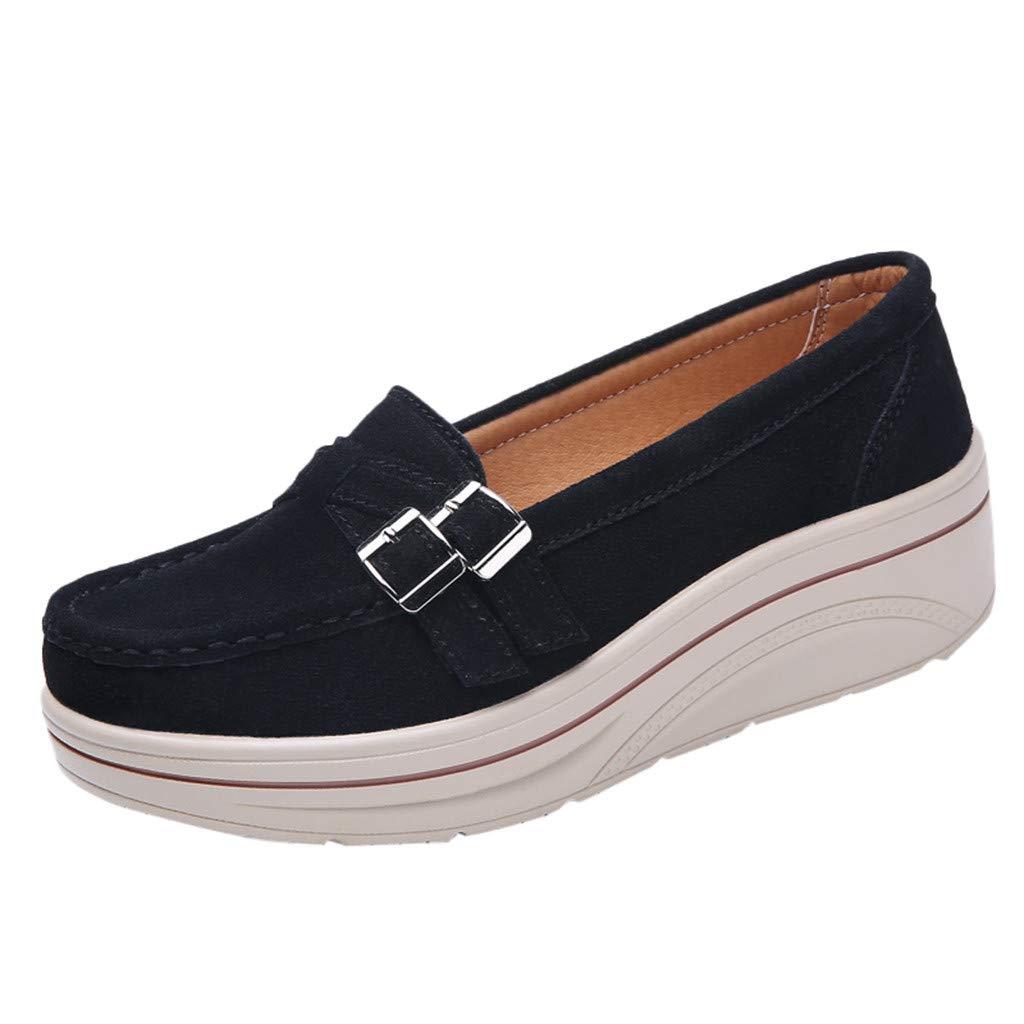 Shusuen Women Oversize Loafer Shoes Casual Muffin Moccasins Black