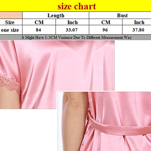 Zhhlinyuan Fashion Womens Chemise Robe Sleepwear Dress Night Bath Satin Silk Nightgown Red