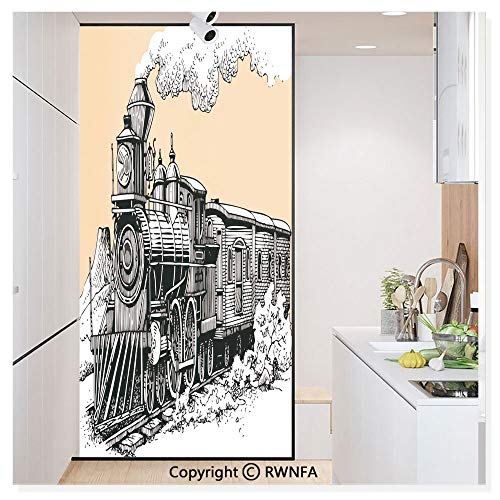 No Glue Static Cling Glass Sticker Decorative,Vintage Wooden Train Rail Wild West Wagon in Countryside Drawing Effect Artsy 17.7