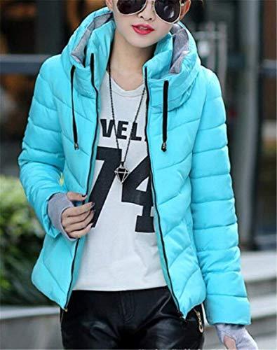 Veste Cou Serrage A Femme Classique Manteau Confortable Vêtements Uni Avant Fille D'extérieur Blau Longues Capuche Doudoune Haute Poches De Manches Cordon Hiver Avec Manche Courte rrPwTq