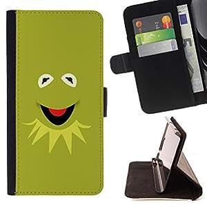 BullDog Case - FOR/Sony Xperia Z2 D6502 / - / Muppet Friend Gren Frog /- Monedero de cuero de la PU Llevar cubierta de la caja con el ID Credit Card Slots Flip funda de cuer