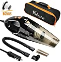 Car Vacuum Cleaner with LED Light, Hikeren DC 12-Volt 106W 4300-4500PA Suction Wet&Dry Handheld Auto Vacuum Cleaner,16.4FT(5M)Power Cord , 2 HEPA Filters, One Carry Bag (Black)Upgraded Version