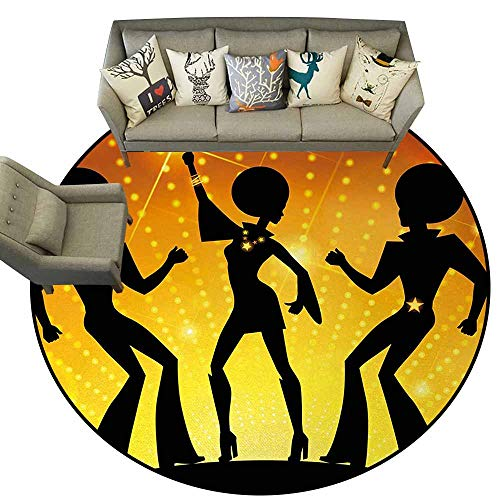 70s Party,Non-Slip Modern Carpet D72 Dancing People in Disco Night Club with Afro Hair Style Bokeh Backdrop Bath Rugs for Bathroom Orange Yellow Black -