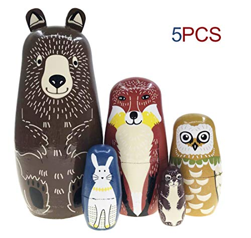 Nesting Doll-Brown Cartoon Bear Fox Owl Rabbit Raccoon Nesting Dolls Wooden Matryoshka Russian Doll Handmade Stacking Toy Set 5 Pieces for Kids Girl