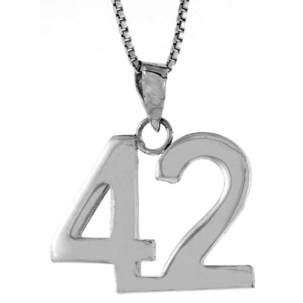 Sterling Silver Number 42 Necklace for Jersey Numbers /& Recovery High Polish 3//4 inch 2mm Curb Chain