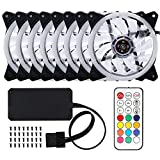 Docooler Computer Case PC Cooling Fan Adjustable RGB LED Light Fan Cooler for CPU with Remote Control