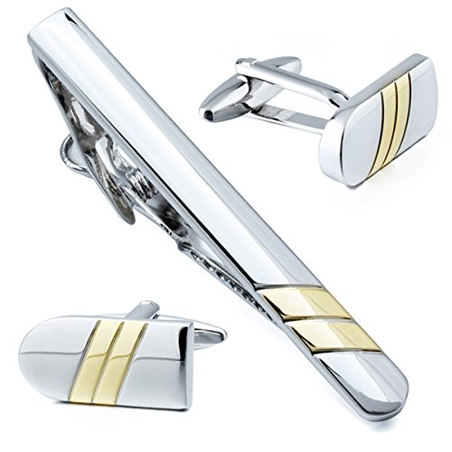 Football Tie Clips - HAWSON Novelty Cuff links and Tie Clip Set for Men - Gifts for Wedding Level,Football,Baseball,Shark etc Design Available