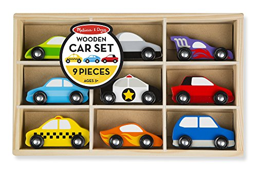 Melissa & Doug Wooden Cars Vehicle Set in Wooden Tray (Cars Set Race Wooden)
