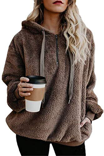 ReachMe Women's Oversized Sherpa Pullover Hoodie with Pockets 1/4 Zip Sweatshirt(Brown,Medium)