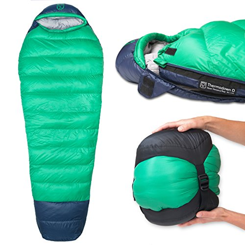 Paria Outdoor Products Thermodown 0 Degree Down Mummy Sleeping Bag - Ultralight Cold Weather, 4 Season Bag - Perfect for Backcountry Camping and Backpacking (Short)