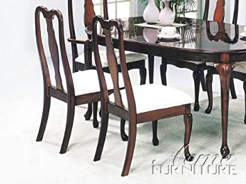 Amazon.com - Set of 2 Cherry Finish Queen Anne Style Dining Chairs ...