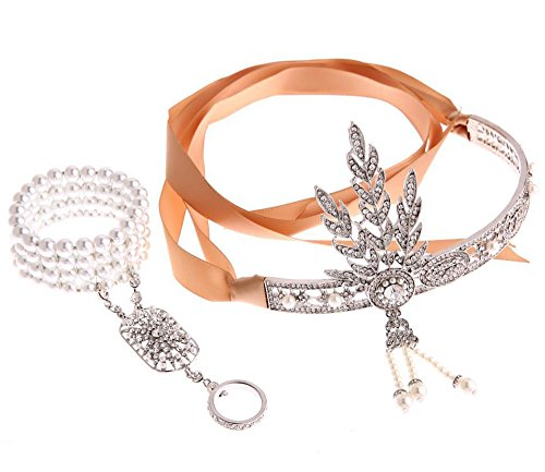 Fashion The Great Gatsby Pearl Bracelets Hair Accessories Crystals Pearl Tassels Hair Hoop Headband Hair Jewelry Wedding Bridal Tiara Hairband Bracelet (silver)