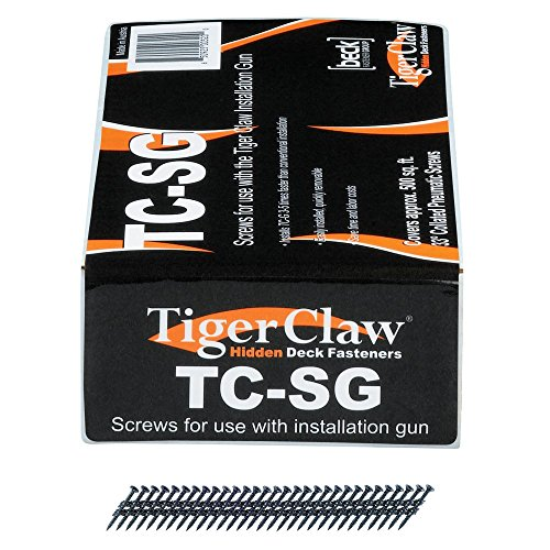 Decking Installation Tool - TigerClaw Coated Steel Pneumatic Scrails Fasteners - 930 pcs. for approx. 500 square feet - TC-SG