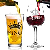 Cheap King Beer Queen Wine Glass Gift Set- Gift from Husband to Wife- Present Idea for Bridal Shower, Wedding, Engagement, Anniversary, Newlyweds, and Couples-Him, Her, Mr. Mrs. – Gift for Mom