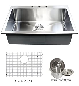 Medium image of 36 inch topmount   drop in stainless steel single bowl kitchen sink 15mm radius design 16 gauge with accessories