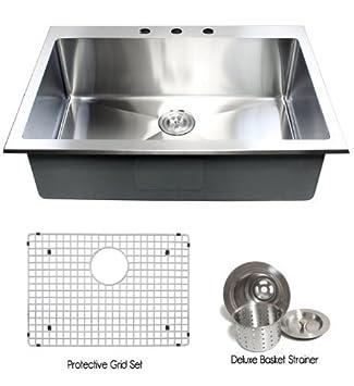 36 inch topmount   drop in stainless steel single bowl kitchen sink 15mm radius design 16 36 inch topmount   drop in stainless steel single bowl kitchen      rh   amazon com