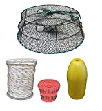KUFA Sports (CT78+PAM3 Vinyl Coated Tower Style Prawn Trap (30''x20''x12''H, Mesh:1-1/8'') with Prawn Trap Accessory Combo