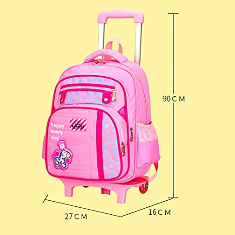 Amazon.com: QCC& Boy Girls Reflective Waterproof Wheeled Rolling Backpack/Rucksack Removable Climbing Stairs Trolley Backpack for School Travel 6-12 Year ...