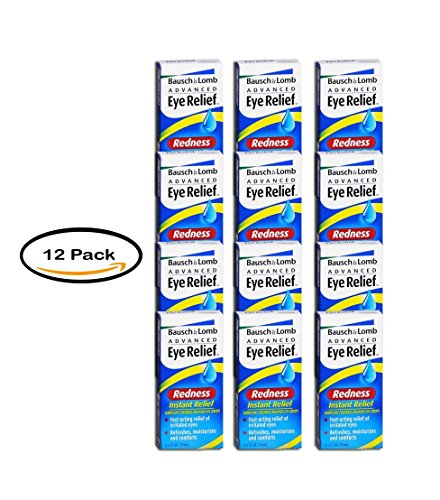 Pack of 12 - Bausch & Lomb Advanced Eye Relief Instant Relief Lubricant/Redness Reliever Eye Drops.5 oz