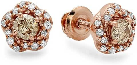 0.45 Carat (ctw) 10k Rose Gold Champagne & White Diamond Ladies Cluster Halo Stud Earrings