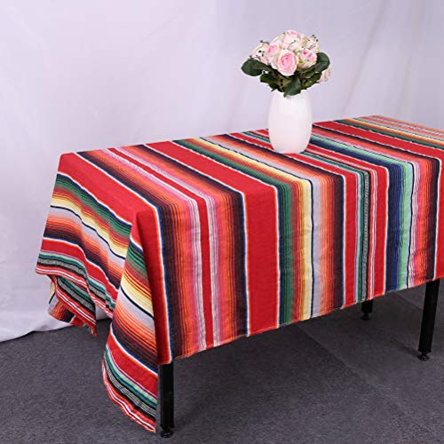 GFCC 57''x102'' Red Mexican Blanket Tablecloth Rectangular Poncho Cotton Mexican Serape Table Cloth for Mexican Wedding Themed Party Decorations PartySupplies Accessories