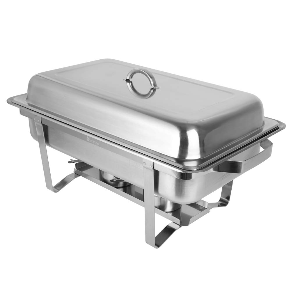 Alwaysprekit 2Pcs Catering Buffet Warmer Set Food Grade Stainless Steel Rectangle Buffet Chafer Furnace Dinner Serving Buffet Warmer 9L for Kitchen,Party,Picnic,Banquet,Restaurant Silver by AlwaysPrekit