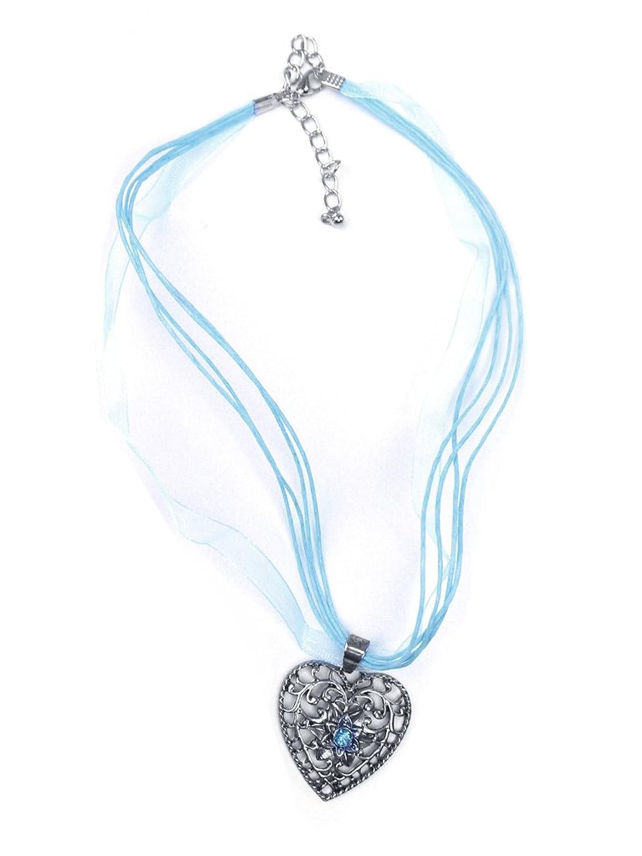 Trachten Halskette Herz Strass hellblau