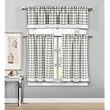 Duck River Textiles - Checkered Kitchen Window Curtain Set Queenston, 2 Tiers 29 X 36 inch   1 Valance 58 X 15 inch, Grey