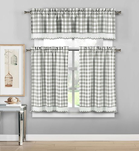 (Duck River Textiles  - Queenston Country Plaid Gingham Checkered Kitchen Tier & Valance Set | Small Window Curtain for Cafe, Bath, Laundry, Bedroom - (Platinum))