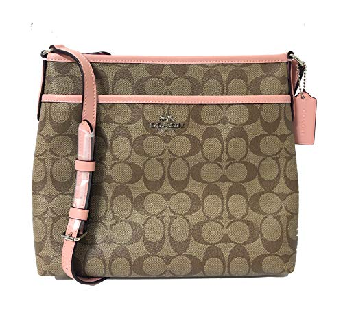 Coach Signature Zip File Crossbody Bag (SV/Khaki/Petal)