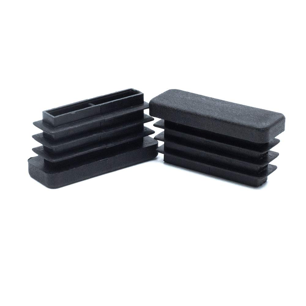 Yoohey 20Pcs Black Rectangle End Caps Plastic Square Rectangle Furniture Foot Table Chair Legs Tube Inserts Threaded End Blanking Caps Protector (38mm x 13mm)