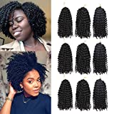 9 Pack Marlbob Crochet Hair Crochet Braids Curly Hair 8Inch Synthetic Afro Kinky Curly Braiding Hair Extensions(24Strands)