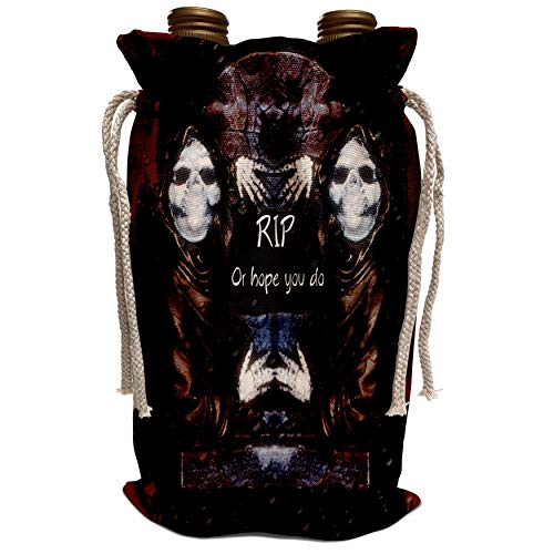 Halloween Tombstone Sayings (3dRose ET Photography - Halloween Designs - Grim reaper with tombstone and Halloween saying - Wine Bag)