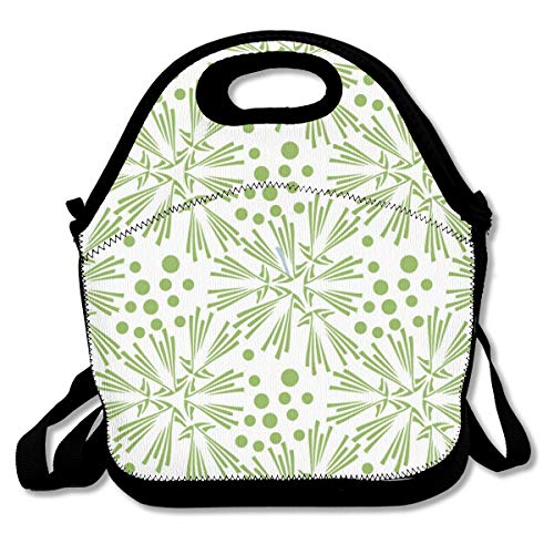 (Pattonef Greenery Dandelion Seamless Pattern Wallpaper Vector Image Customized Insulated Neoprene Lunch Bag Unisex Suitable for Office Workers)