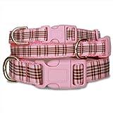 Pink Plaid Furberry Dog Collar, My Pet Supplies