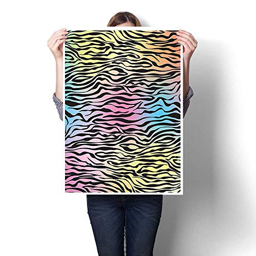 - 3D Hand Painting,Decor Colorful Zebra Pattern Wild Animal Wilderness Themed Stylized Artwork Print Yellow C Painting,Art Modern Abstract Wall Art for Living Room,20