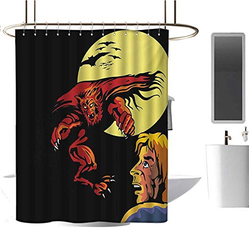 Stevenhome Cartoon Shower Curtains Waterproof Comics Super Heros Monsters Werewolf Enemy of Dracula Attacking Moment Art Print Satin Fabric Sets Bathroom Multicolor