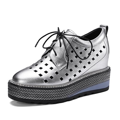 Shoes Platform Leather Shoes up Lace Women's Shoes MUYII Silver Hollow Casual qt1cTz