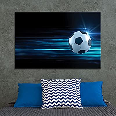 Canvas Wall Art Sports Theme - Flying Spinning Soccer - Giclee Print Gallery Wrap Modern Home Art Ready to Hang - 12x18 inches