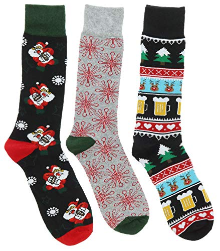 Gold Medal Men's Christmas Dress Socks (3Pr), (Santa, Football, Beer Fairisle)