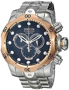 Invicta 10785 Reserve Men's Venom Swiss Made Quartz Black Dial Stainless Steel Bracelet Watch