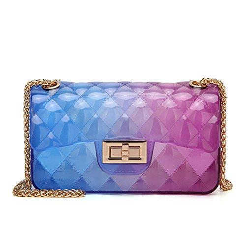 Women Transparent Jelly Messenger Bag Lady Gradient Candy Color Shoulder Purses Mini Crossbody Bag with Chain (Blue Purple)