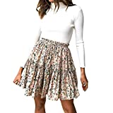Women Pleated Skirt, Elastic Waist Print Vintage Short Skirt Casual A-Line Skirt for Night Out Cocktail Party (Beige, M)