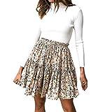 PASATO 2019 New Sale!Women Casual Retro High Waist Print Design Evening Party Short Shirring Mini Skirt(Beige,M=US:S)
